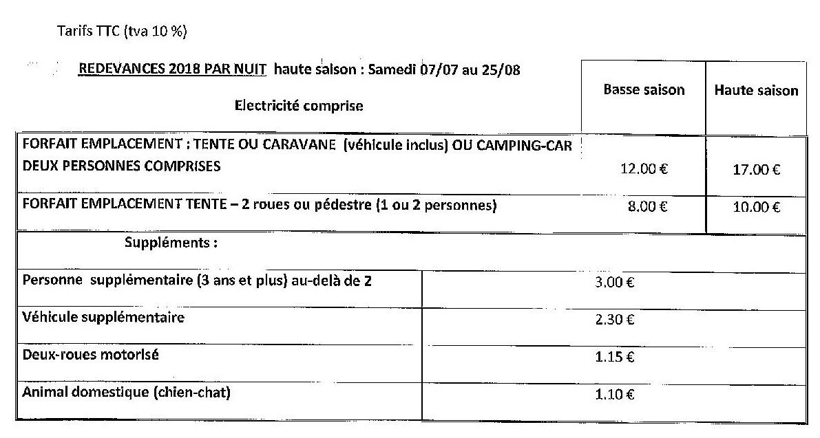 tarif camping1
